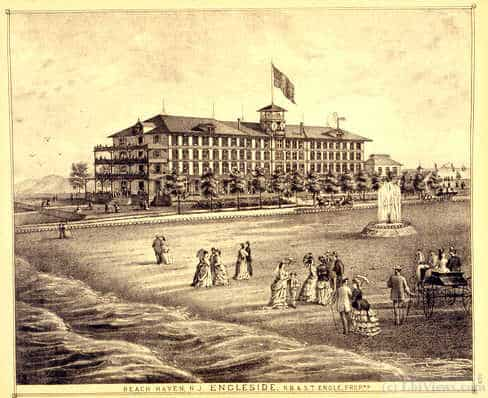 An engraving of the Engleside Hotel in Beach Haven as it appeared in the 1800s